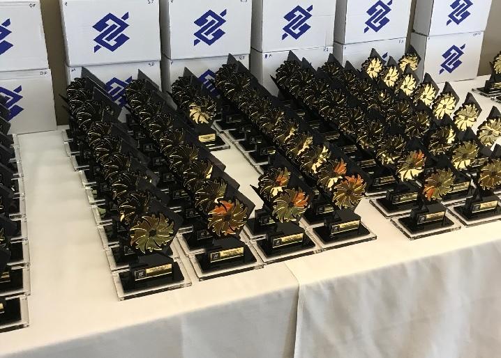 Troféus da premiação do Teambuilding